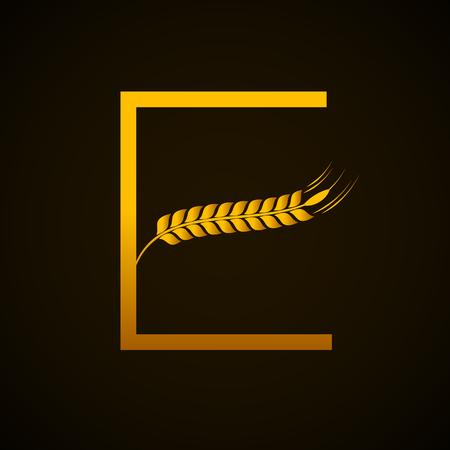 Abstract gold letter E logo with wheat design Фото со стока - 84060243