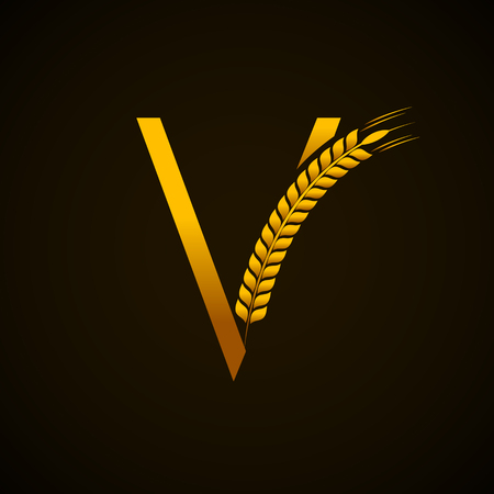 Abstract gold letter V logo with wheat design Illustration