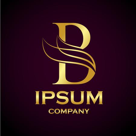 Resumen de letra B diseño de logotipo, oro, industria de la belleza y moda logo.cosmetics negocio, natural, salones de spa. yoga, medicina empresas y clínicas Foto de archivo - 84250370
