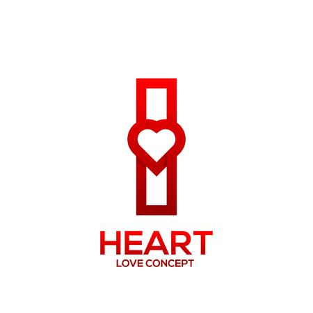Letter I heart Red color logo,Valentine Day Love Concept Logotype Ilustração