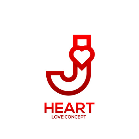 Letter J heart Red color logo,Valentine Day Love Concept Logotype