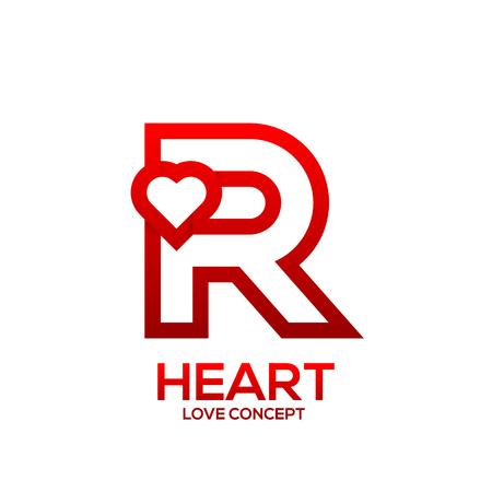 편지 R 심장 붉은 색 로고, 발렌타인 데이 사랑 개념 로고 타입