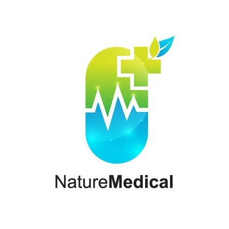 Drugs store logo,Medical pharmacy,Medical Cross Logo Pharmacy natural eco Clinic design vector template. Medicine Health care Logotype. Ecology Green Healthcare icon Ilustração