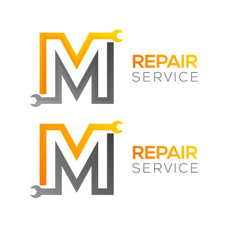 Lettre M avec logo clé, logo industriel, réparation, outils, service et maintenance pour identité visuelle.