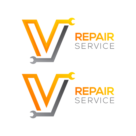 Letter V with wrench logo, Industrial, repair, tools, service and maintenance logo for corporate identity.