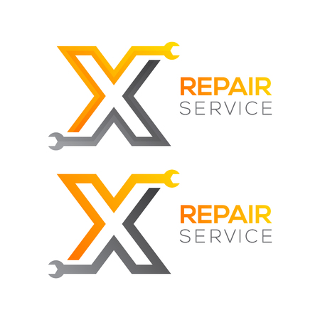 Letter X with wrench logo, Industrial, repair, tools, service and maintenance logo for corporate identity. Фото со стока - 84467792