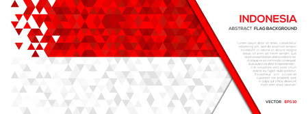 Abstract polygon Geometric Shape background.Indonesia flag