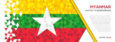 抽象的な多角形の幾何学図形の背景。ミャンマーの国旗