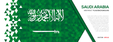 Abstract polygon Geometric Shape background.Saudi Arabia flag Ilustração