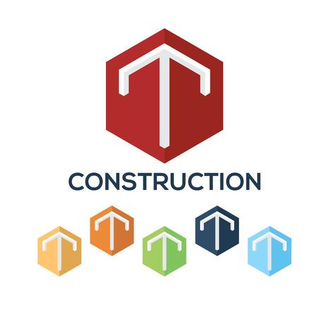 Letters T set,Hexagon vector logo design template
