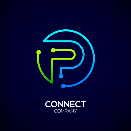 Letter P logo, Circle shape symbol, green and blue color, Technology and digital abstract dot connection