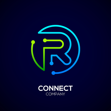 Letter R logo, Circle shape symbol, green and blue color, Technology and digital abstract dot connection Illusztráció