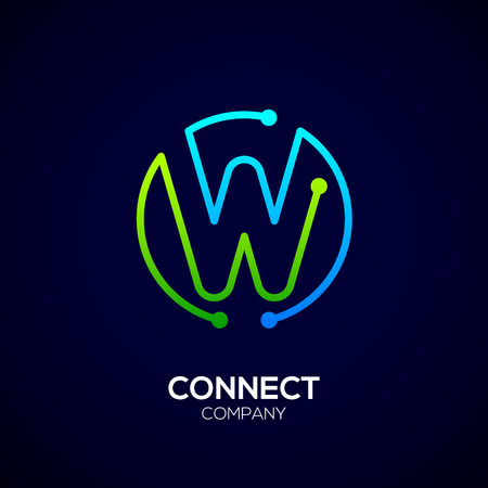 Letter W logo, Circle shape symbol, green and blue color, Technology and digital abstract dot connection Ilustrace