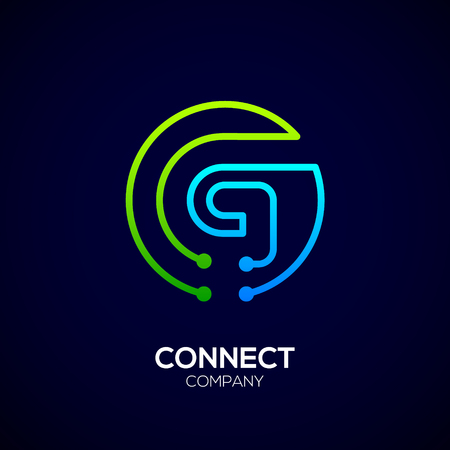 Letter G logo, Circle shape symbol, green and blue color, Technology and digital abstract dot connection