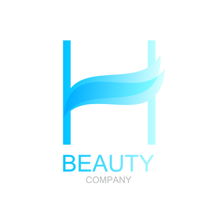 butterfly isolated: Abstract letter H logo design template with beauty spa salons yoga