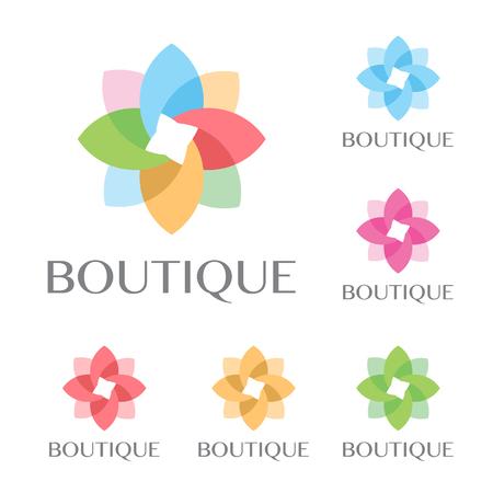 Beautiful flower set decoration fashion logo.cosmetics business, natural,spa salons. yoga, medicine and clinic vector logo