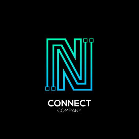 Blaue und grüne Farbe des Firmenzeichens N, Technologie und digitales abstraktes Punktverbindungs-Vektorlogo