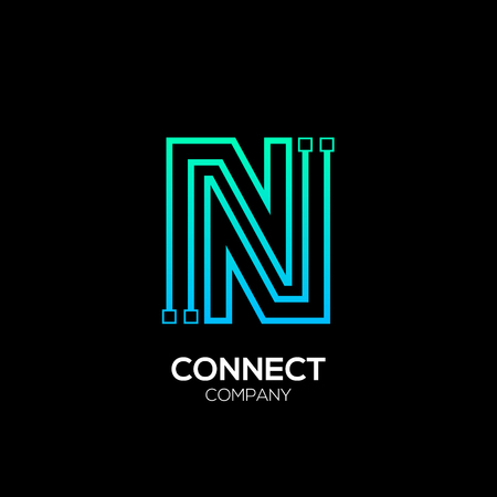 Letter N logotype blue and green color,Technology and digital abstract dot connection vector logo