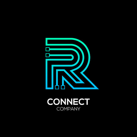 Letter R logotype blue and green color,Technology and digital abstract dot connection vector logo Illustration