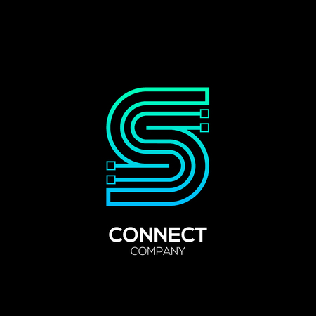 Letter S logotype blue and green color,Technology and digital abstract dot connection vector logo