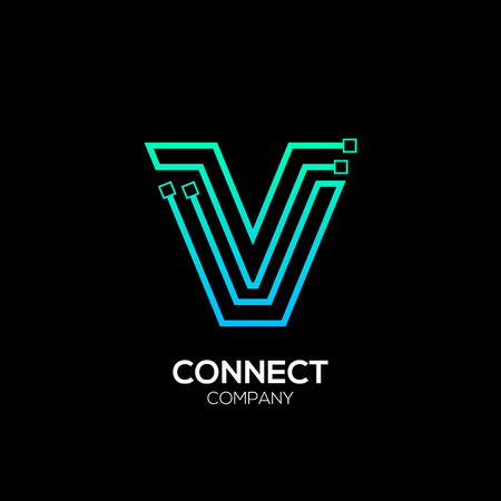 Letter V logotype blue and green color,Technology and digital abstract dot connection vector logo