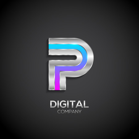 Letter P with metallic texture,3d Glossy, Digital and Technology, metal texture,  silver, steel and realistic shadow for logo, Vector illustration
