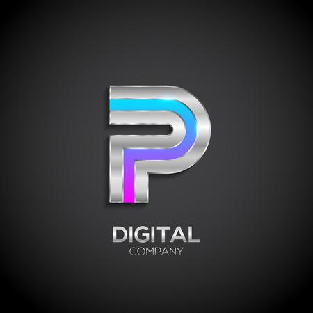 Buchstabe P mit metallischer Textur, 3d glänzend, Digital und Technologie, Metall Textur, Silber, Stahl und realistische Schatten für Logo, Vektor-Illustration