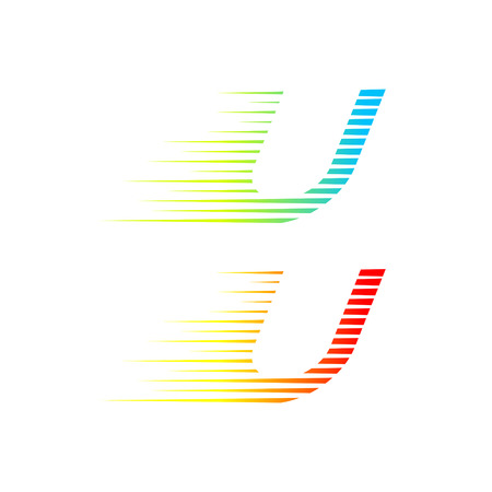Abstract letter U-logo, snel brandend snel bewegend, snel energieteken voor uw huisstijl