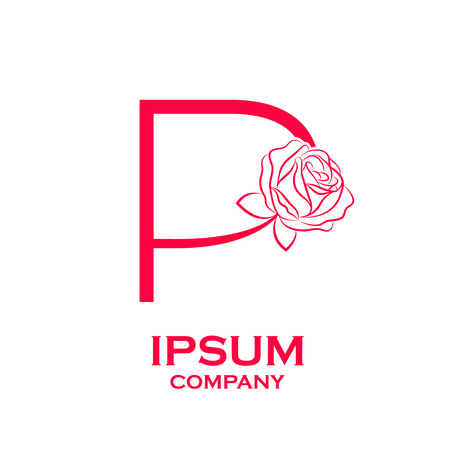 Letter P LogoRose Flower Red Beauty And Fashion Cosmetics Business Natural