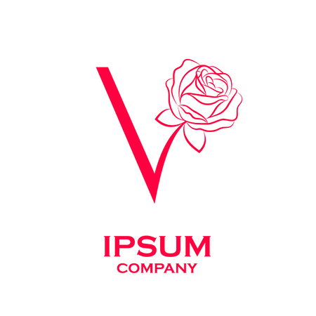 Letter V logo,Rose Flower Red, beauty and fashion, cosmetics business, natural,spa salons logo
