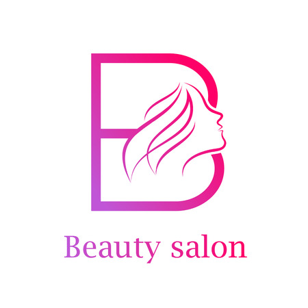 Abstract letter B logo,Beauty salon logo design template Illustration