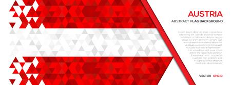 抽象的な多角形の幾何学図形の背景。オーストリアの国旗  イラスト・ベクター素材