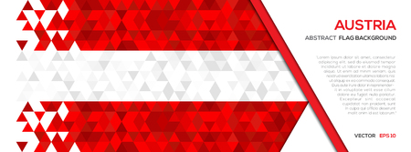 Abstract polygon Geometric Shape background.Austria flag Illusztráció