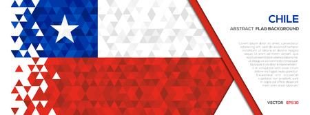 抽象的な多角形の幾何学図形の背景。チリの国旗