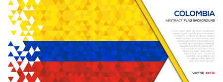 Abstract polygon Geometric Shape background.Colombia flag