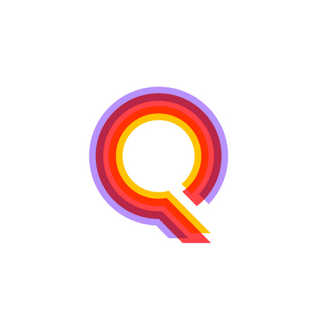 Letter Q logo with Colorful three line, real estate, apartment, condo, house, modern, digital, technology logotype Logo