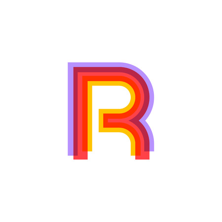 house logo: Letter R logo with Colorful three line, real estate, apartment, condo, house, modern, digital, technology logotype