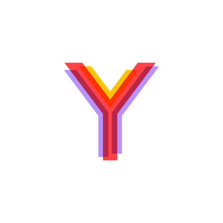 Letter Y logo with Colorful three line, real estate, apartment, condo, house, modern, digital, technology logotype Illustration