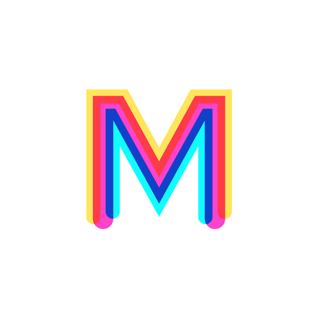 Letter M logo with CMYK logo template, printing services, modern, digital, technology logotype
