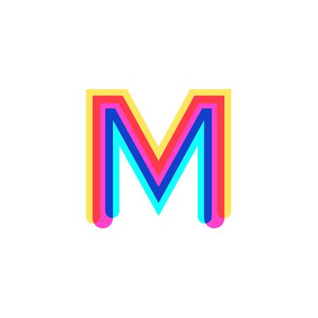 Letter M logo with CMYK logo template, printing services, modern, digital, technology logotype Illustration