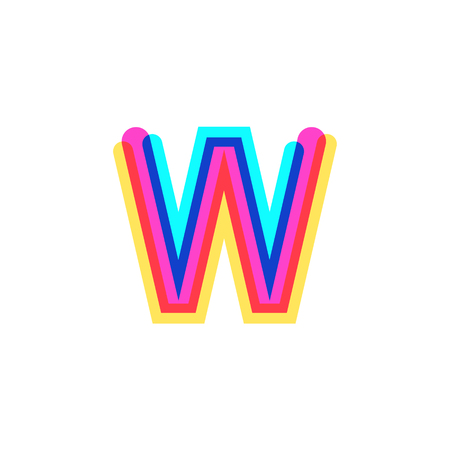 Letter W logo with CMYK logo template, printing services, modern, digital, technology logotype