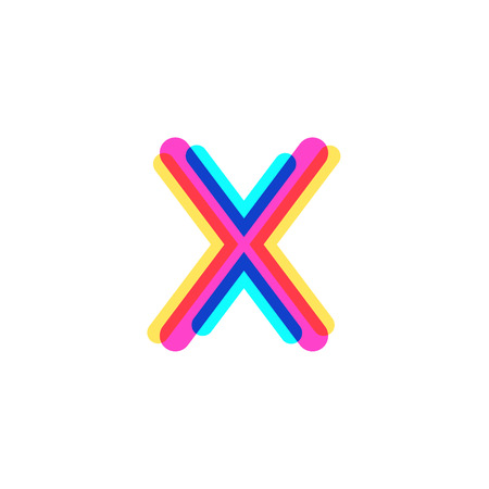 Letter X logo with CMYK logo template, printing services, modern, digital, technology logotype Иллюстрация