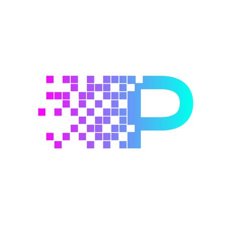 racing sign: Letter P Logo Design.network digital logo icon template. technology logo, web net logo icon, Company