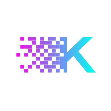 racing sign: Letter K Logo Design.network digital logo icon template. technology logo, web net logo icon, Company
