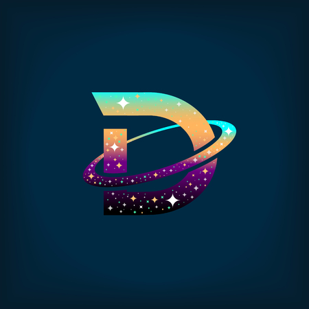Abstract letter D logo,space logo.Observatory,tourism,galaxy,moon,satellite,alien,planet,astronaut.Interesting design template for your company logo