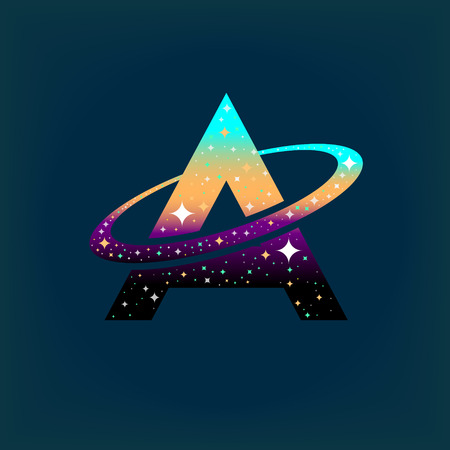 Abstract letter A logo,space logo.Observatory,tourism,galaxy,moon,satellite,alien,planet,astronaut.Interesting design template for your company logo