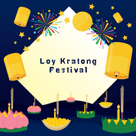 loy: Loy Kratong thailand festival vector