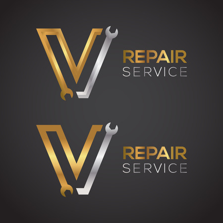 Letter V with wrench logo Gold and Silver color,Industrial,repair,tools,service and maintenance logo for corporate identity