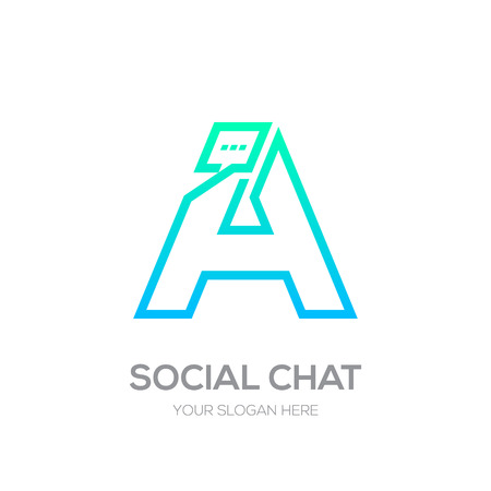 Letter A with Chat line shape, Social Talk, Social media, Abstract speak, Square speech