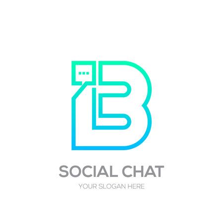 Letter B with Chat line shape, Social Talk, Social media, Abstract speak, Square speech